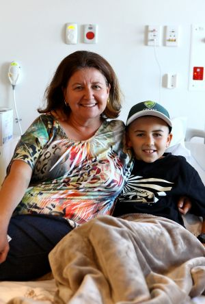 Twelve-year-old Bryson Morrison, who is battling Leukaemia, with his mum Rosa Morrison, was one of the many patients ...
