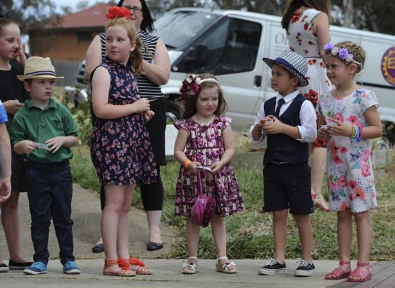Entrants in the children's section of the Fashions in the Field line up ready for the catwalk.