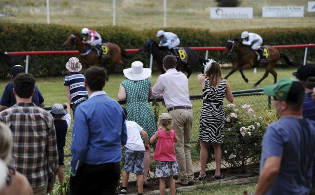 Punters watch the finish of a race.
