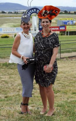 Entrants in the Fashions in the Field, Deb Parish of Bywong and Sally Martin of Hughes.