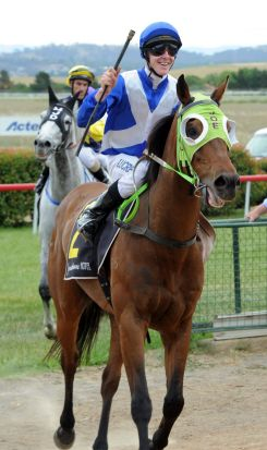 Landlocked, ridden by John Kissick, returns to scale after winning the cup.