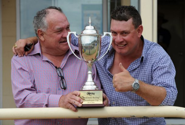 The Joe Cleary Racing Queanbeyan Cup. Winning trainer, Joe Cleary, gives the thumbs up after Landlocked, ridden by John ...