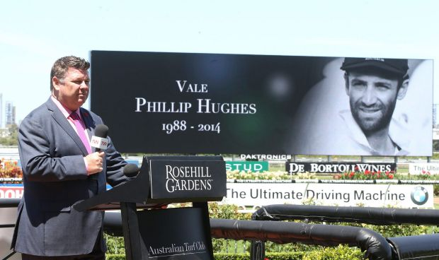 Richard Callender during a 63 second silence for Australian Cricketer Phillip Hughes during Sydney Racing at Rosehill ...