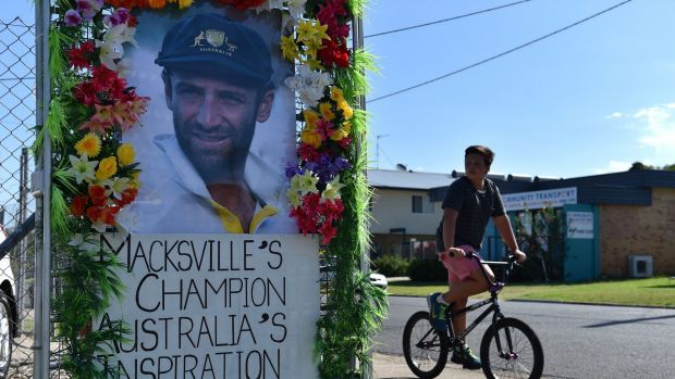 A portrait of the late Australian cricketer Phillip Hughes in his home town of Macksville.