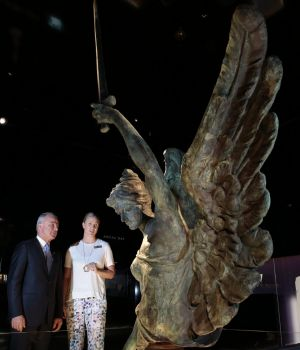 Australian War Memorial director Dr Brendan Nelson with First World War Galleries project director Katherine McMahon ...