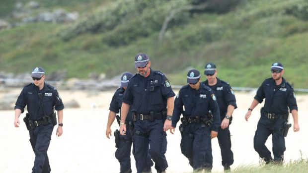 Police at Maroubra beach on Sunday searching the area for clues.