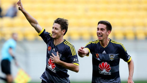 Easy does it: Phoenix's Nathan Burns celebrates another goal against Melbourne City.