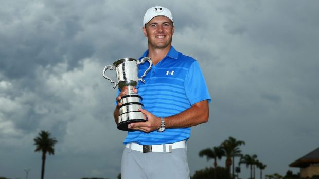 Say cheese: Jordan Spieth poses with the Stonehaven trophy.