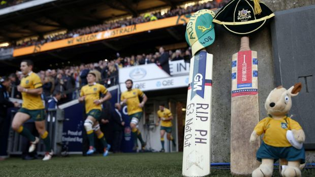 A bat and Australian mascot were left near the pitch before the start of Australia's Autumn International against ...