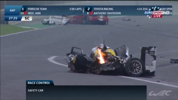 Mark Webber crashes in the Six Hours of Sao Paulo endurance race.