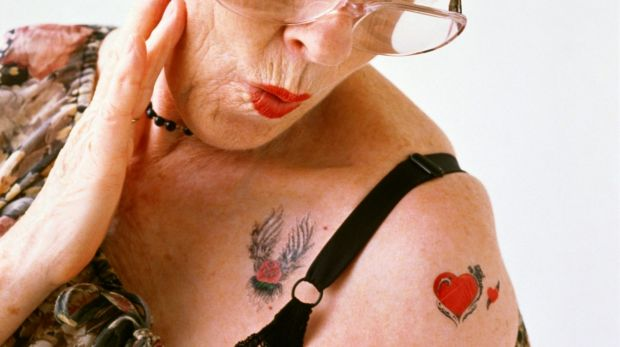 Tattoos ... what may look cutting-edge on a 20-something, takes on a very different incarnation on a 60- year-old.