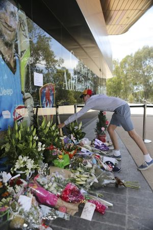 Tributes at the Adelaide Oval for Phillip Hughes.