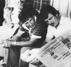 Ken Barrington and Robin Jackman in the players pavilion at Kensington Oval, Barbados, during the third Test of the 1981 ...