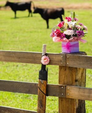 Flowers and a cricket bat are left outside Phillip Hughes property in Macksville, his hometown.