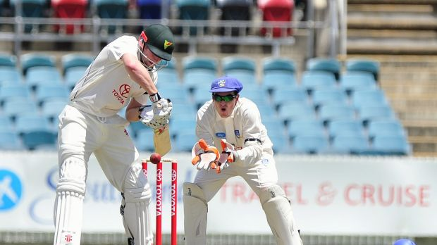 Tasmania's Ben Dunk on his way to making 145 against the ACT Comets on Monday.