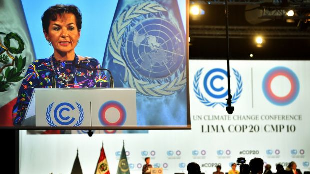 UNFCCC executive secretary Christiana Figueres addresses the public during the opening ceremony of the Lima talks.