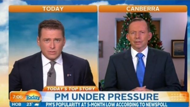 Asking the tough questions: Karl Stefanovic quizzes Tony Abbott.