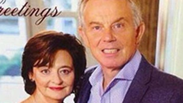 "Festive fear: Tony Blair's official Christmas card which Twitter called ""terrifying""."
