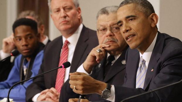 Solutions sought: US President Barack Obama during a meeting at the White House with officials, police and community and ...