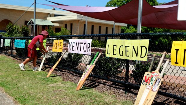 Students line up bats alongside words that describe their cricketing hero at St Patrick's Primary School, Phillip ...