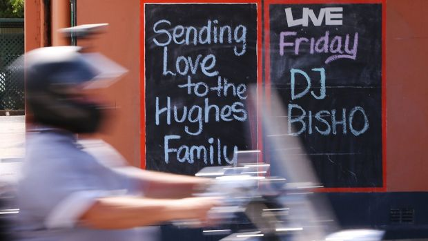 Local hero: the Nambucca Hotel pays tribute to the late Phillip Hughes.
