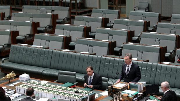 Education Minister Christopher Pyne in the House of Representatives on Wednesday.