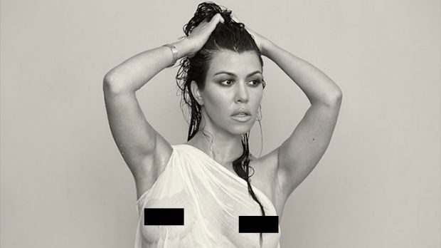 Kourtney Kardashian appears in the new issue of DuJour magazine naked at nine months pregnant.