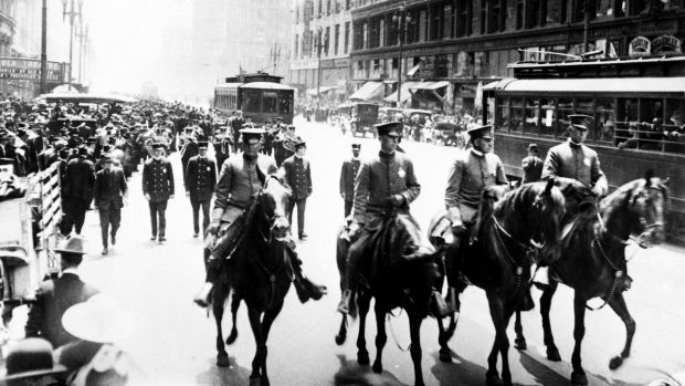 Sydney shocked: The funeral procession for Les Darcy in Sydney in 1917.