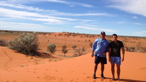 Scott Gorringe with his son Todd in the land over which Mithaka has a Native Title claim.