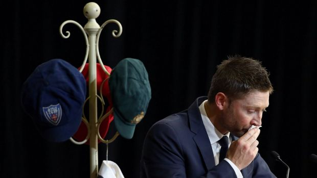 Great mate: Michael Clarke pauses during his speech at Phillip Hughes' funeral.