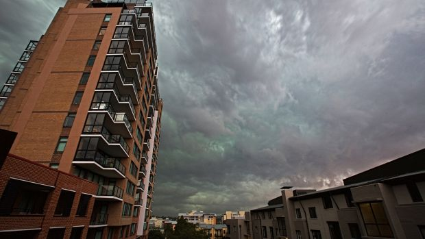 The Sydney storm in Pyrmont.