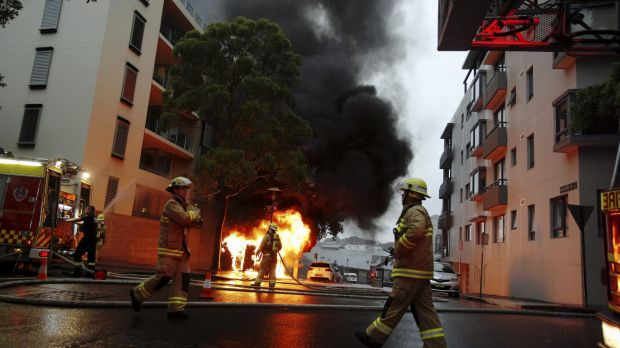 Firefighters at the Pyrmont blaze.