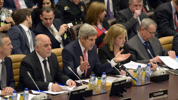 US Secretary of State John Kerry speaks during a meeting of the global coalition to counter the Islamic State militant group.