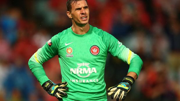 Tough to take: Wanderers keeper Ante Covic reacts to going behind early against the Roar.