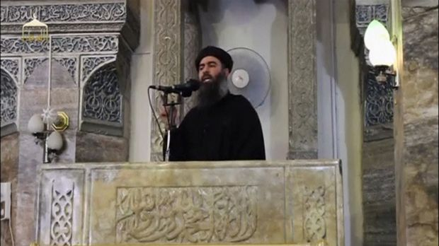 Islamic State Abu Bakr al-Baghdadi delivers a sermon in July in Mosul. Officials from Iraq and Lebanon are at odds as to ...