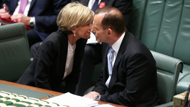 Foreign Minister Julie Bishop talks strategy with Prime Minister Tony Abbott in Parliament House.