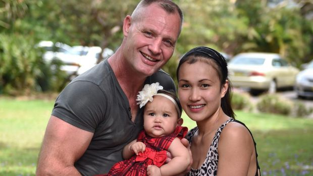 Bright future: Michael Le Serve with his wife Mary Joy and baby Hope.