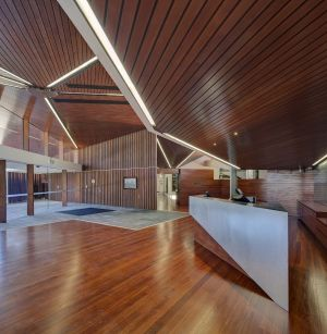The interior features red gum, recycled timber and steel.