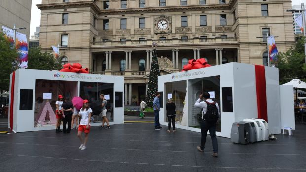 Online retailer eBay has opened real world stores to capitalise on Christmas, like this one in front of Customs House in ...