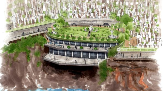Possibility: Artist's impression of the pavilion set in the gully of Waverley Cemetery.