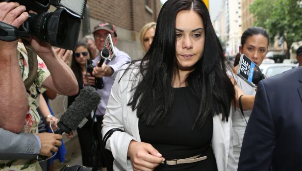Jessica Silva leaves court after being found guilty of manslaughter.