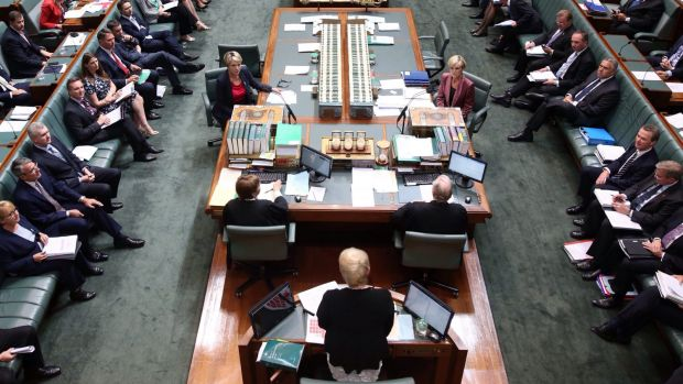 Speaker Julie Bishop addresess the House as Acting Prime Minister Julie Bishop and Acting Opposition Leader Tanya ...