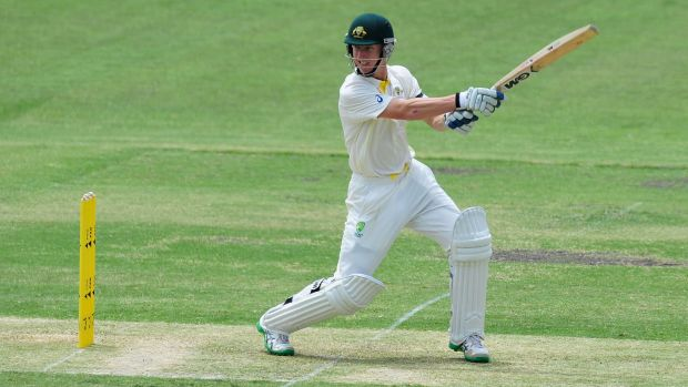 Tasmania's Jordan Silk on his way to scoring 58 against India in Adelaide.