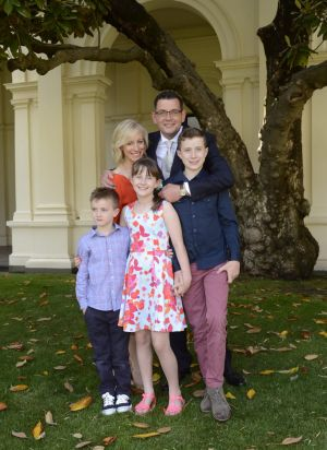 Premier Daniel Andrews with his family, wife Cathryn and children Grace, Joseph and Noah.