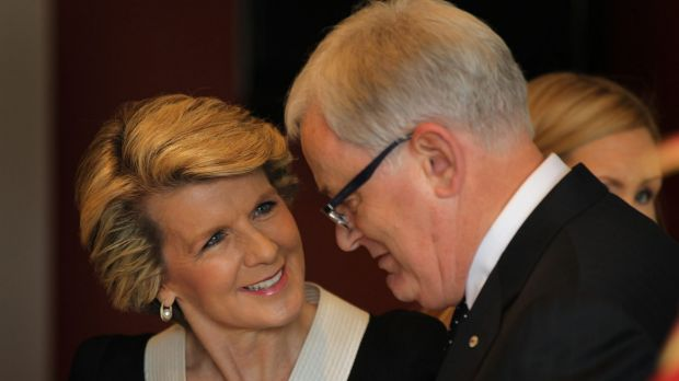 """""""Why would I be angry at being accompanied by a minister?"""": Foreign Affairs Minister Julie Bishop with Trade Minister ..."""
