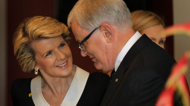 Foreign Affairs Minister Julie Bishop with Trade Minister Andrew Robb.