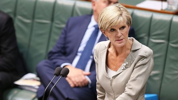 """Seeking a """"strong"""" commitment: Foreign Affairs Minister Julie Bishop speaks during question time on Thursday."""