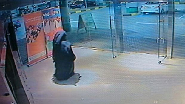 The suspect in the stabbing murder is seen on security camera footage in Abu Dhabi, United Arab Emirates.
