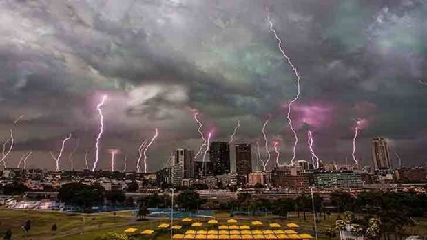 A multiple exposure picture of lightning striking Sydney's skyline, which was compiled on Wednesday.