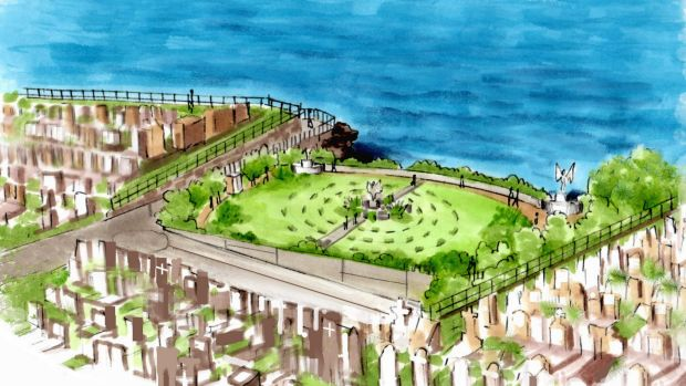 An artist's impression of the pavilion set in the gully of Waverley Cemetery.